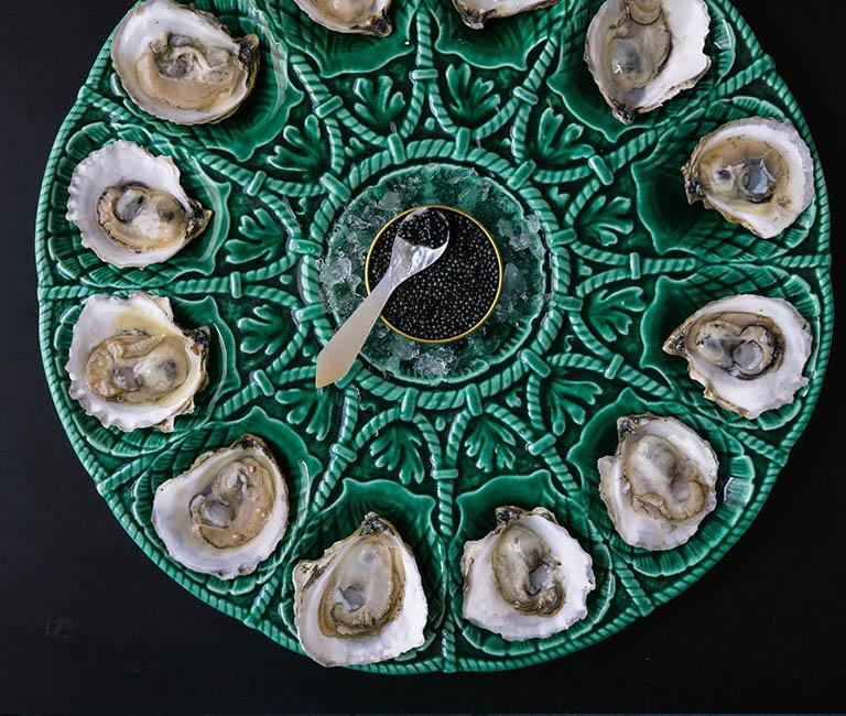 ico caviar and oysters